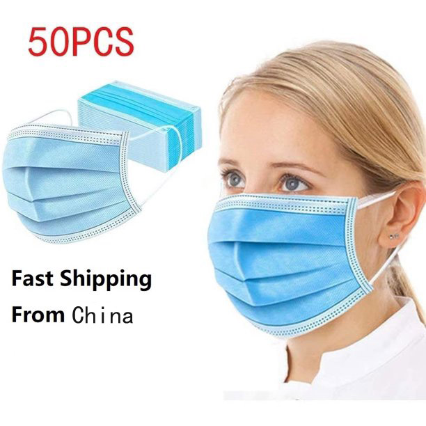 50Pcs Disposable 3-Layer Breathable Disposable Earloop Face Mask(General Use) (50Pcs/Box)