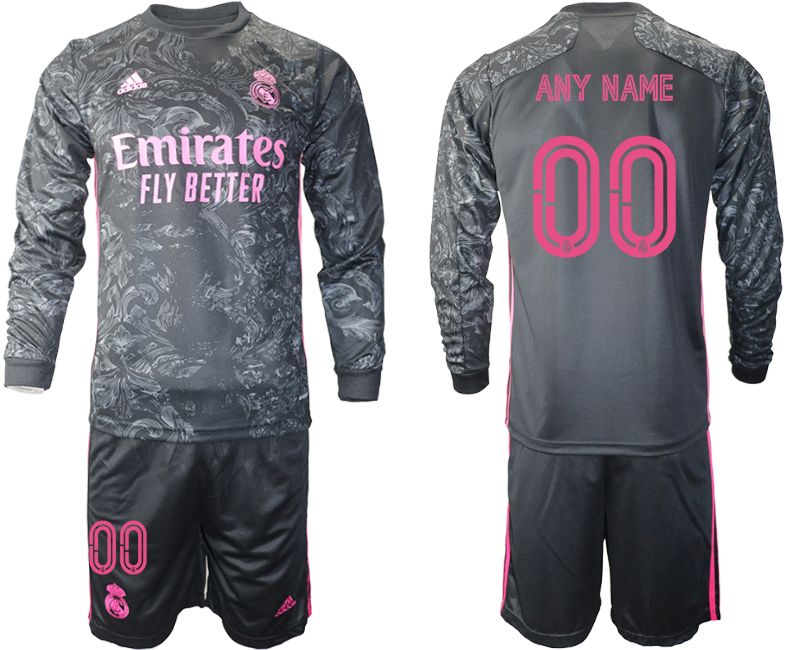 Wholesale 2021 Men Real Madrid away long sleeve any name soccer jerseys