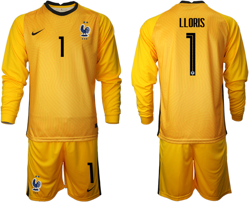 Cheap Men 2021 France yellow goalkeeper long sleeve 1 soccer jerseys
