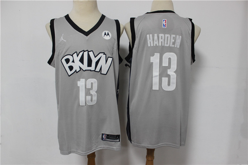 Cheap 2021 Men Brooklyn Nets 13 Harden grey Home Stitched NBA Jersey