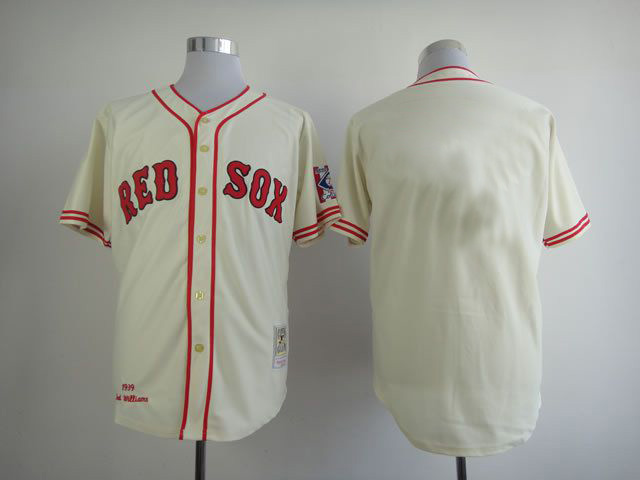 Cheap Custom Men Boston Red Sox Cream Throwback MLB Jerseys
