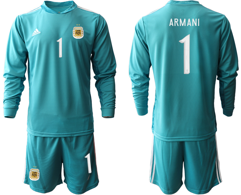 Cheap Men 2020-2021 Season National team Argentina goalkeeper Long sleeve blue 1 Soccer Jersey