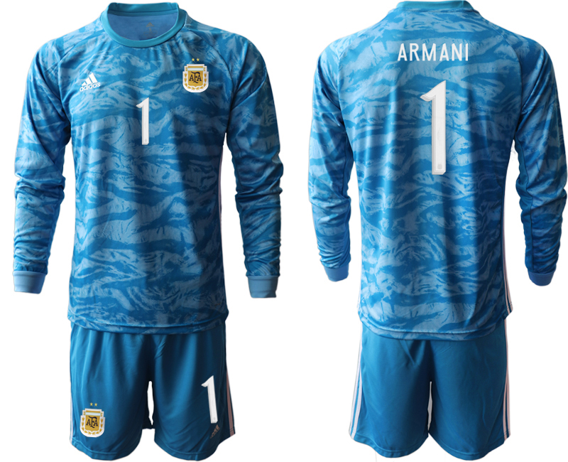 Cheap Men 2020-2021 Season National team Argentina goalkeeper Long sleeve blue 1 Soccer Jersey1