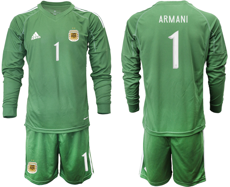 Cheap Men 2020-2021 Season National team Argentina goalkeeper Long sleeve green 1 Soccer Jersey4