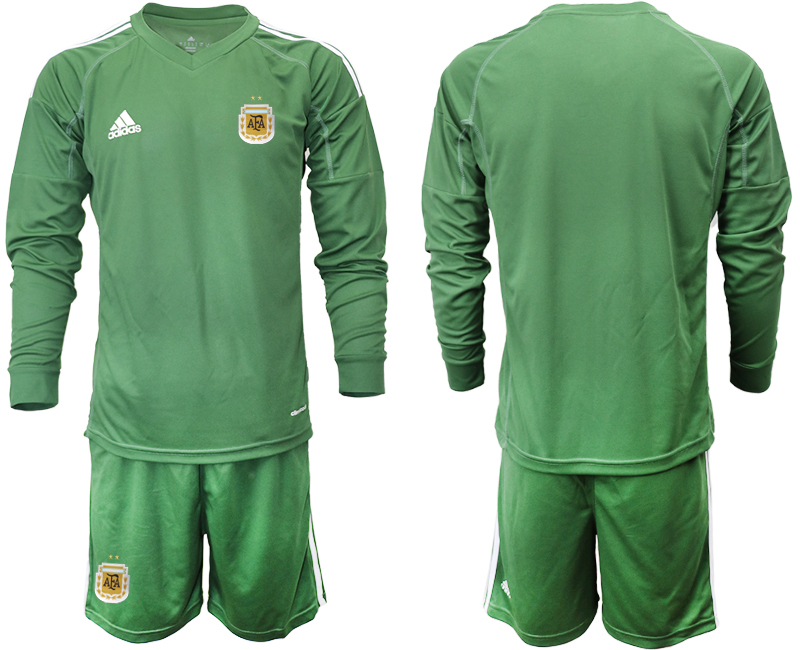 Cheap Men 2020-2021 Season National team Argentina goalkeeper Long sleeve green Soccer Jersey