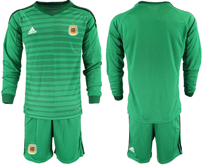Cheap Men 2020-2021 Season National team Argentina goalkeeper Long sleeve green Soccer Jersey1