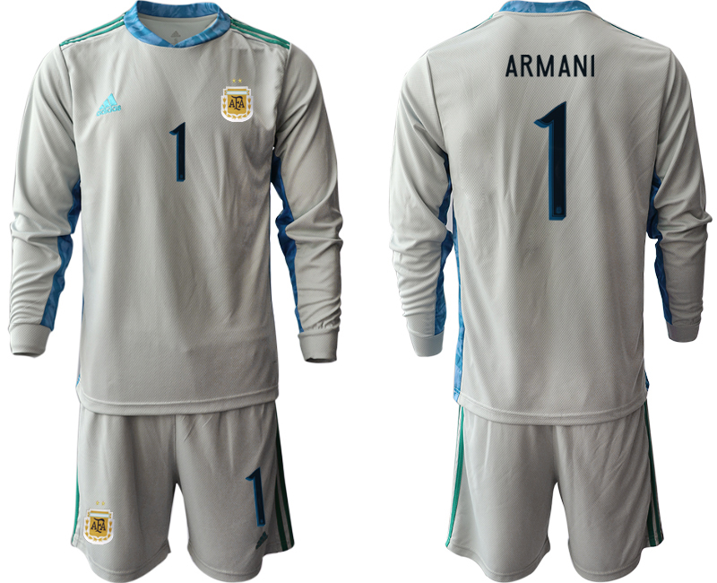 Cheap Men 2020-2021 Season National team Argentina goalkeeper Long sleeve grey 1 Soccer Jersey