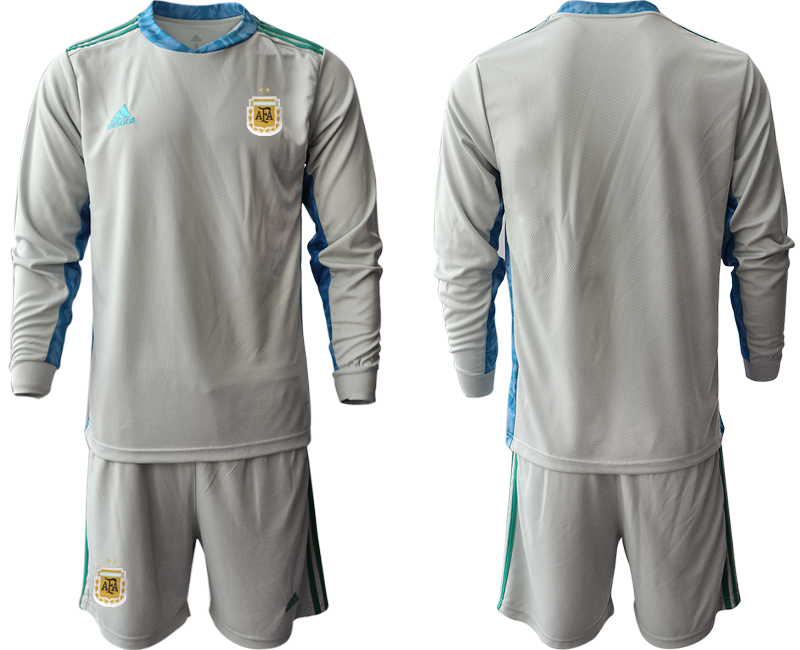 Cheap Men 2020-2021 Season National team Argentina goalkeeper Long sleeve grey Soccer Jersey