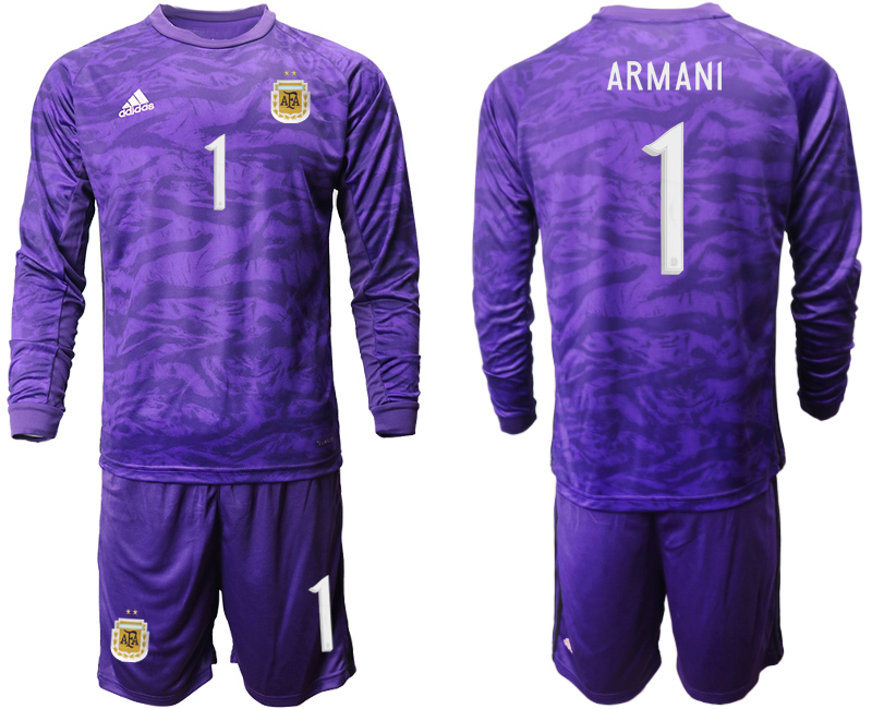 Cheap Men 2020-2021 Season National team Argentina goalkeeper Long sleeve purple 1 Soccer Jersey