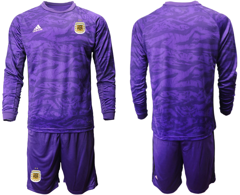Cheap Men 2020-2021 Season National team Argentina goalkeeper Long sleeve purple Soccer Jersey1