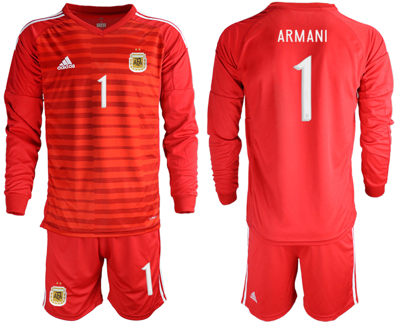 Cheap Men 2020-2021 Season National team Argentina goalkeeper Long sleeve red 1 Soccer Jersey