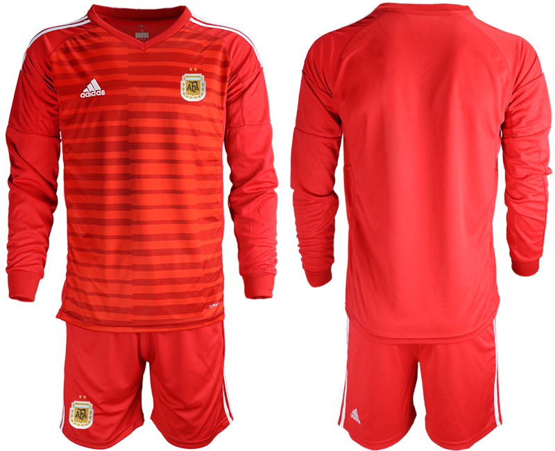Cheap Men 2020-2021 Season National team Argentina goalkeeper Long sleeve red Soccer Jersey