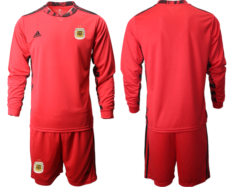 Cheap Men 2020-2021 Season National team Argentina goalkeeper Long sleeve red Soccer Jersey1