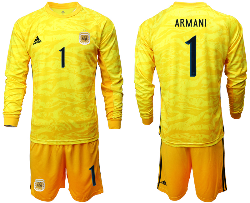 Cheap Men 2020-2021 Season National team Argentina goalkeeper Long sleeve yellow 1 Soccer Jersey