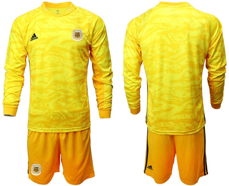 Cheap Men 2020-2021 Season National team Argentina goalkeeper Long sleeve yellow Soccer Jersey