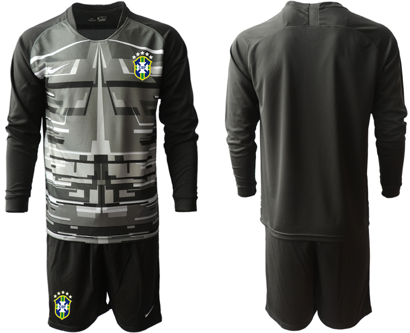 Cheap Men 2020-2021 Season National team Brazil goalkeeper Long sleeve black Soccer Jersey