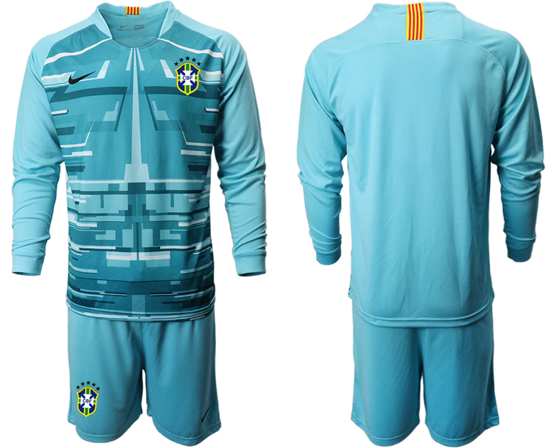 Cheap Men 2020-2021 Season National team Brazil goalkeeper Long sleeve blue Soccer Jersey