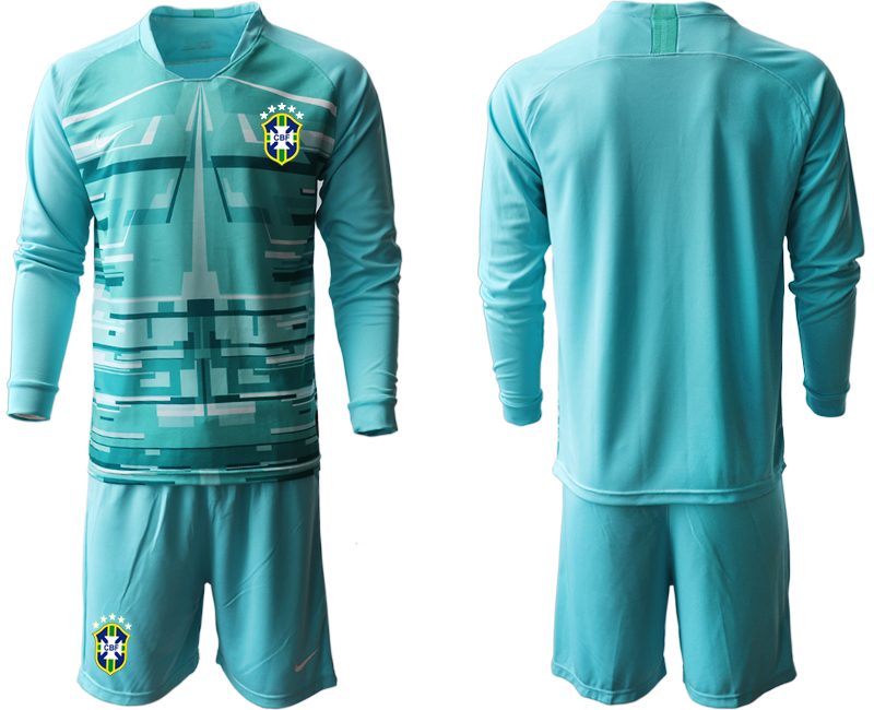 Cheap Men 2020-2021 Season National team Brazil goalkeeper Long sleeve blue Soccer Jersey1