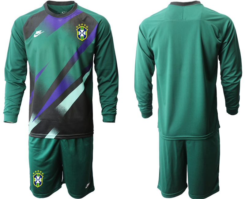 Cheap Men 2020-2021 Season National team Brazil goalkeeper Long sleeve green Soccer Jersey