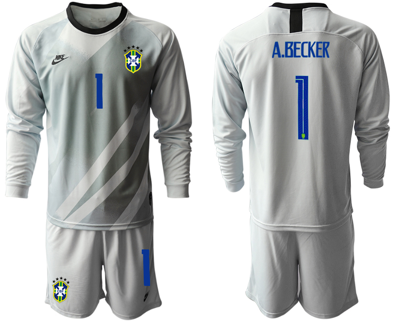 Cheap Men 2020-2021 Season National team Brazil goalkeeper Long sleeve grey 1 Soccer Jersey