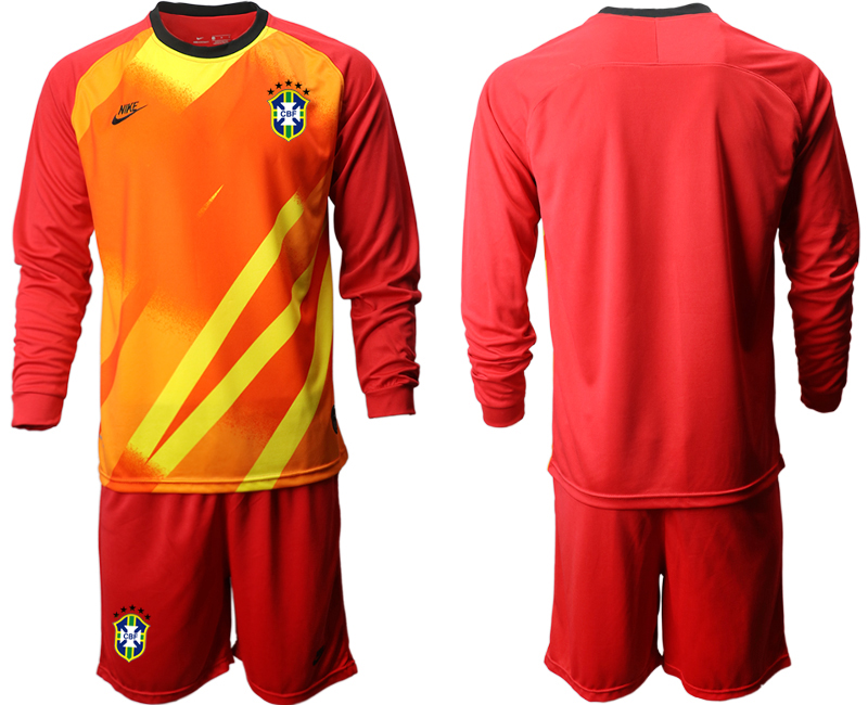 Cheap Men 2020-2021 Season National team Brazil goalkeeper Long sleeve red Soccer Jersey