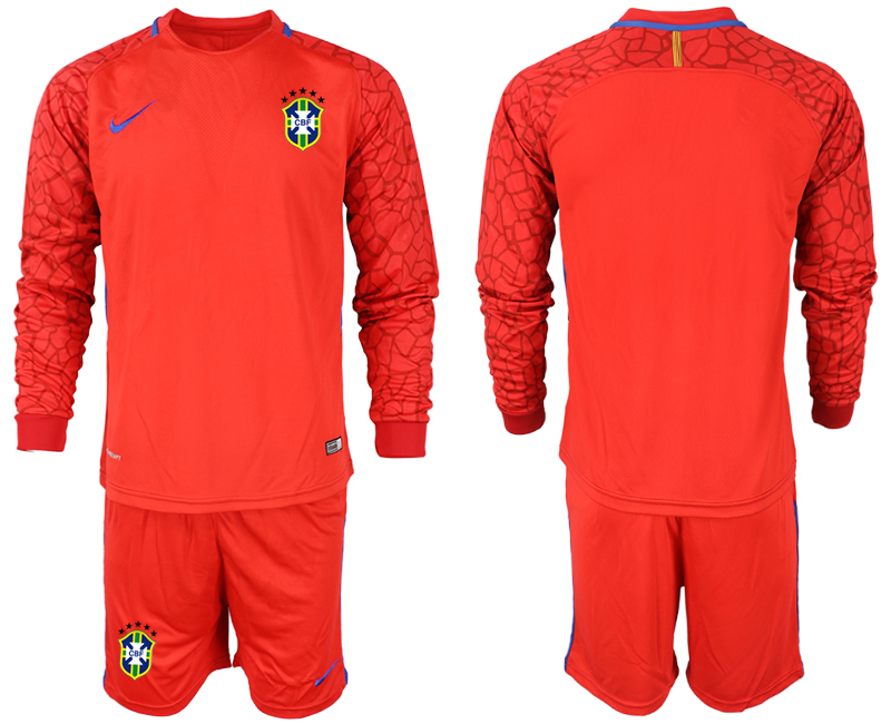 Cheap Men 2020-2021 Season National team Brazil goalkeeper Long sleeve red Soccer Jersey1