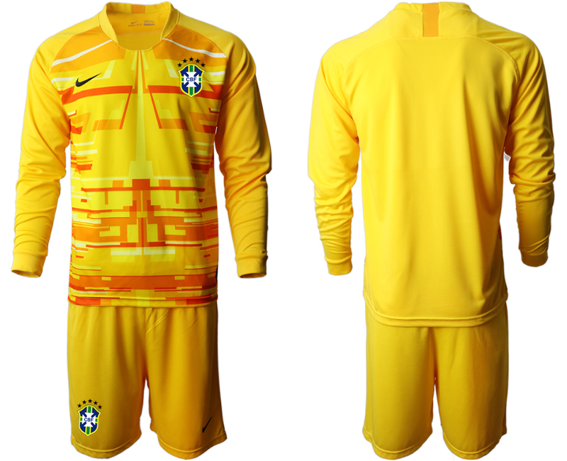 Cheap Men 2020-2021 Season National team Brazil goalkeeper Long sleeve yellow Soccer Jersey
