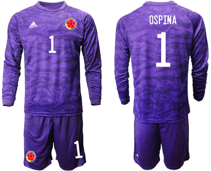 Cheap Men 2020-2021 Season National team Colombia goalkeeper Long sleeve purple 1 Soccer Jersey2