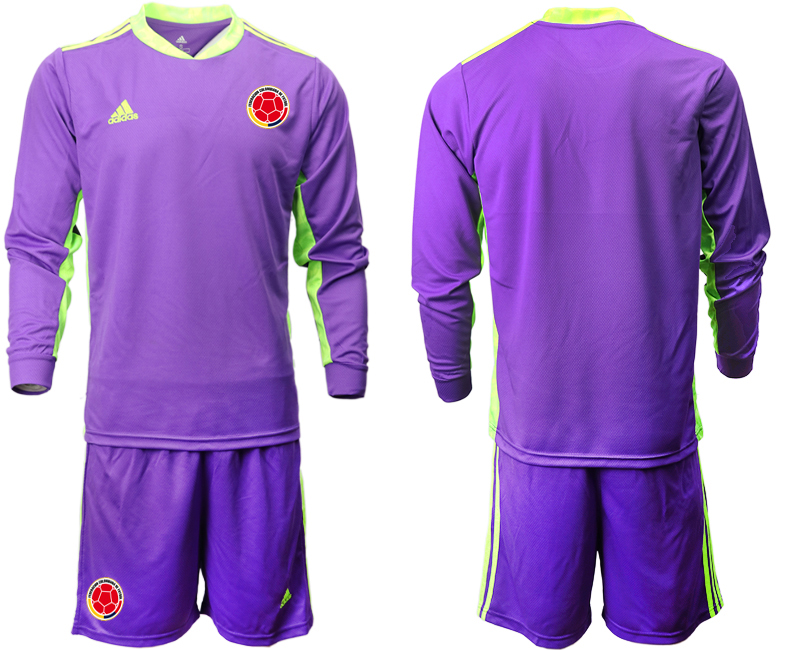 Cheap Men 2020-2021 Season National team Colombia goalkeeper Long sleeve purple Soccer Jersey