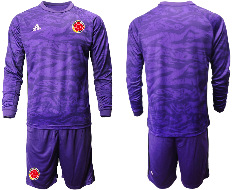 Cheap Men 2020-2021 Season National team Colombia goalkeeper Long sleeve purple Soccer Jersey1