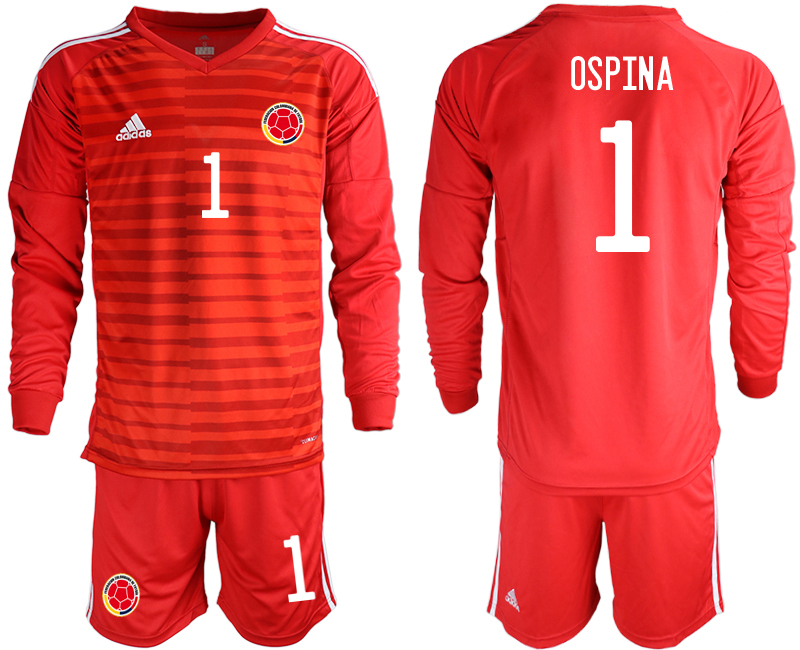 Cheap Men 2020-2021 Season National team Colombia goalkeeper Long sleeve red 1 Soccer Jersey2