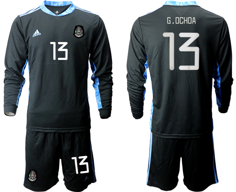 Cheap Men 2020-2021 Season National team Mexico goalkeeper Long sleeve black 13 Soccer Jersey