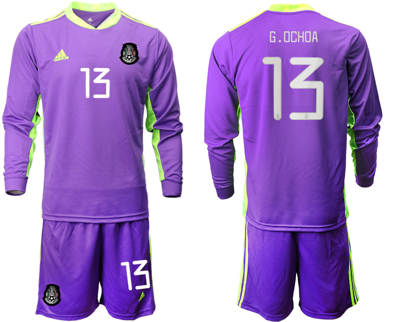 Cheap Men 2020-2021 Season National team Mexico goalkeeper Long sleeve pruple 13 Soccer Jersey