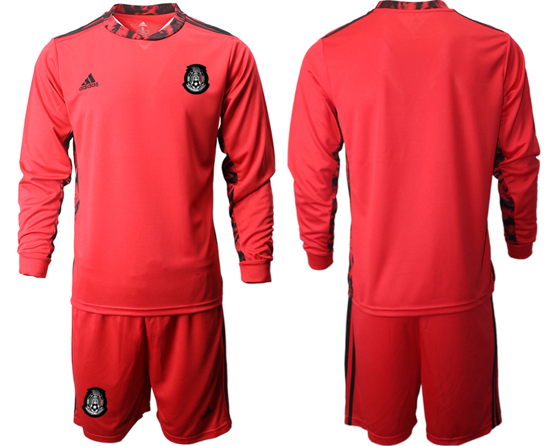 Cheap Men 2020-2021 Season National team Mexico goalkeeper Long sleeve red Soccer Jersey