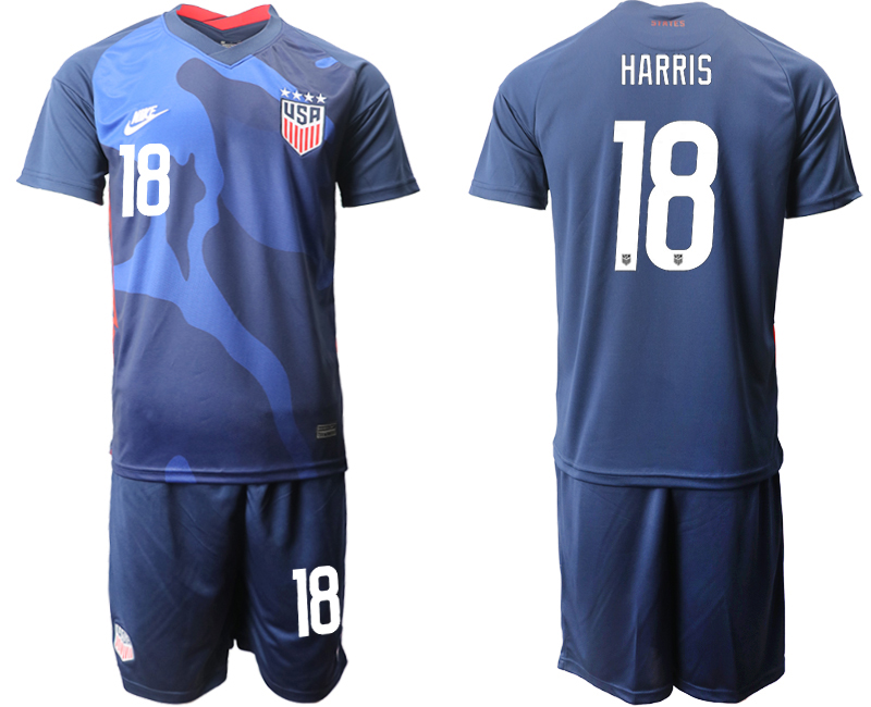Wholesale Men 2020-2021 Season National team United States away blue 18 Soccer Jersey