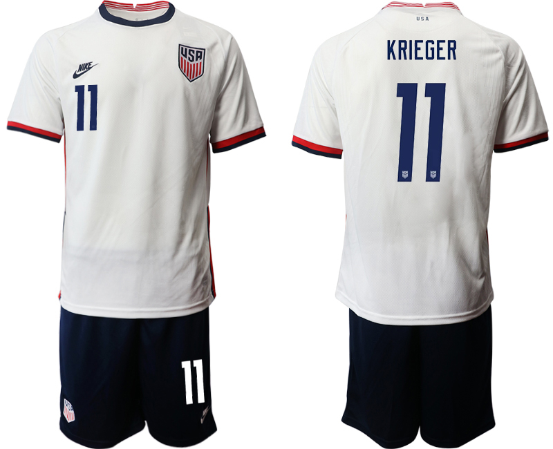 Wholesale Men 2020-2021 Season National team United States home white 11 Soccer Jersey