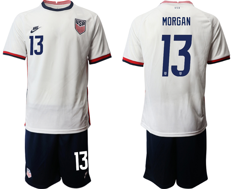 Wholesale Men 2020-2021 Season National team United States home white 13 Soccer Jersey1