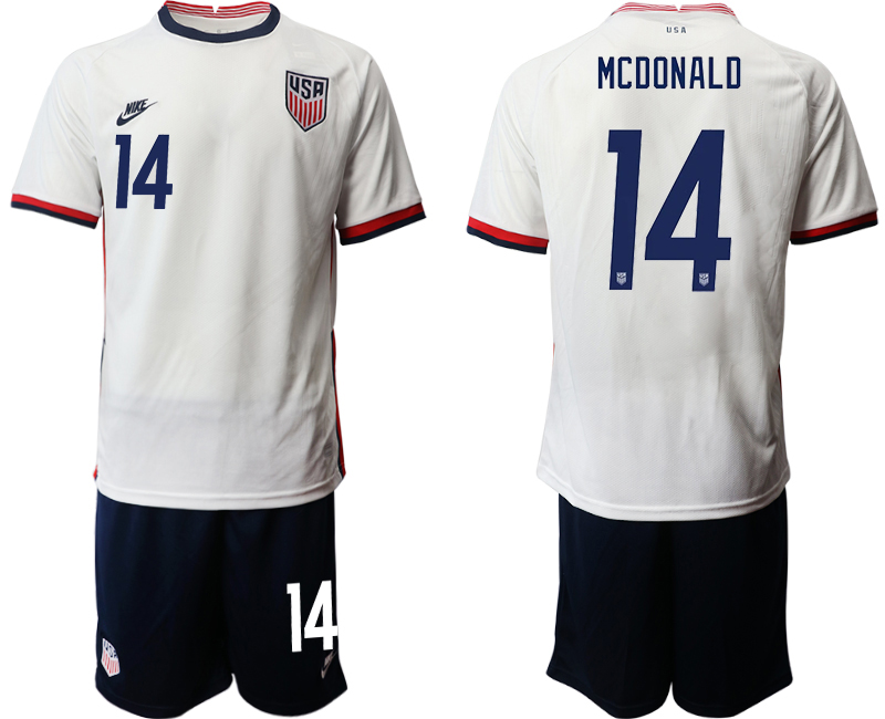 Wholesale Men 2020-2021 Season National team United States home white 14 Soccer Jersey