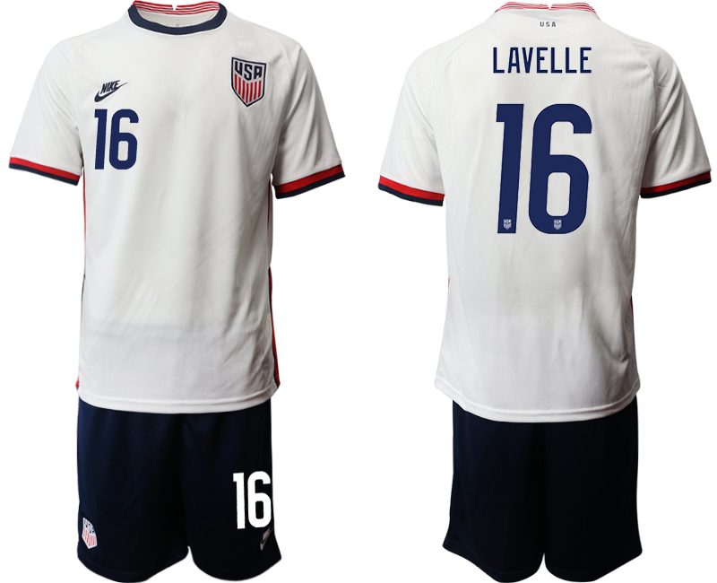 Wholesale Men 2020-2021 Season National team United States home white 16 Soccer Jersey