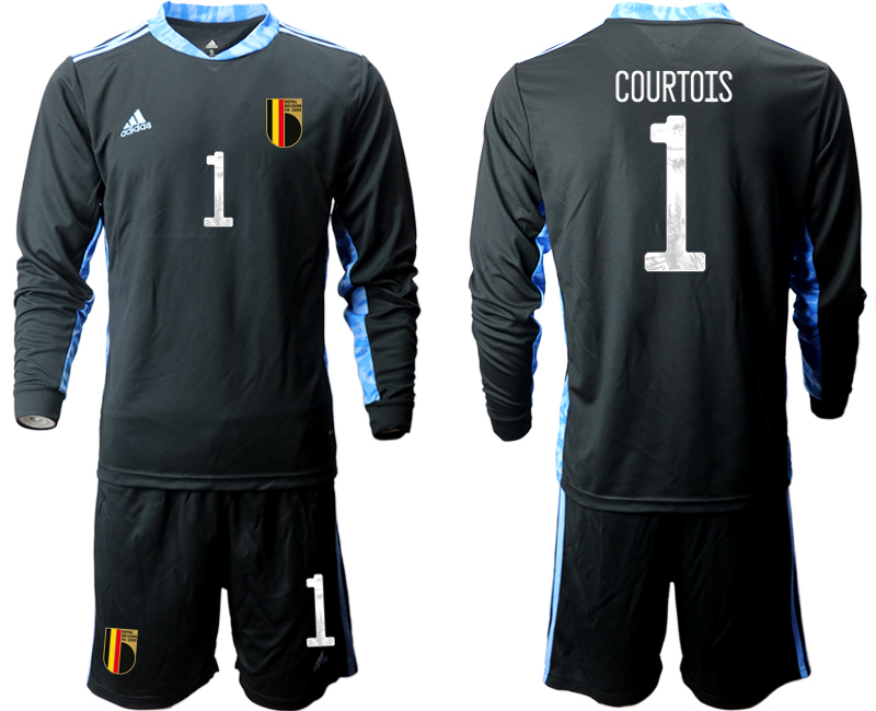 Wholesale Men 2021 European Cup Belgium black Long sleeve goalkeeper 1 Soccer Jersey
