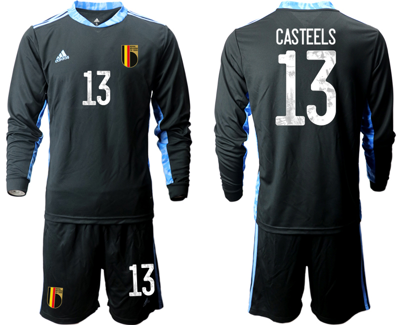 Wholesale Men 2021 European Cup Belgium black Long sleeve goalkeeper 13 Soccer Jersey