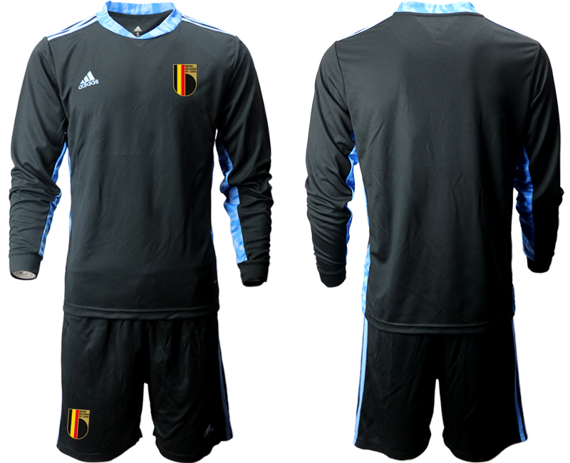 Wholesale Men 2021 European Cup Belgium black Long sleeve goalkeeper Soccer Jersey