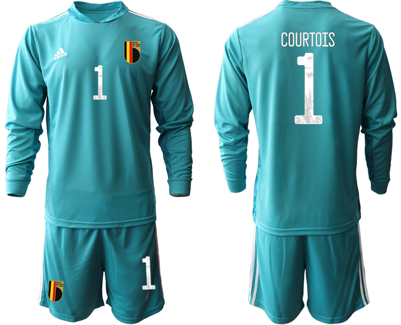 Wholesale Men 2021 European Cup Belgium blue Long sleeve goalkeeper 1 Soccer Jersey