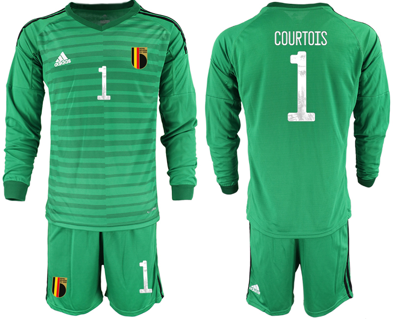 Wholesale Men 2021 European Cup Belgium green Long sleeve goalkeeper 1 Soccer Jersey1