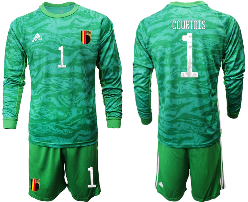Wholesale Men 2021 European Cup Belgium green Long sleeve goalkeeper 1 Soccer Jersey2