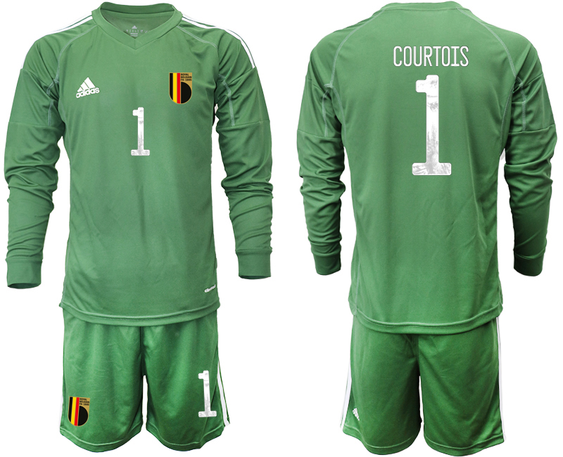 Wholesale Men 2021 European Cup Belgium green Long sleeve goalkeeper 1 Soccer Jersey3