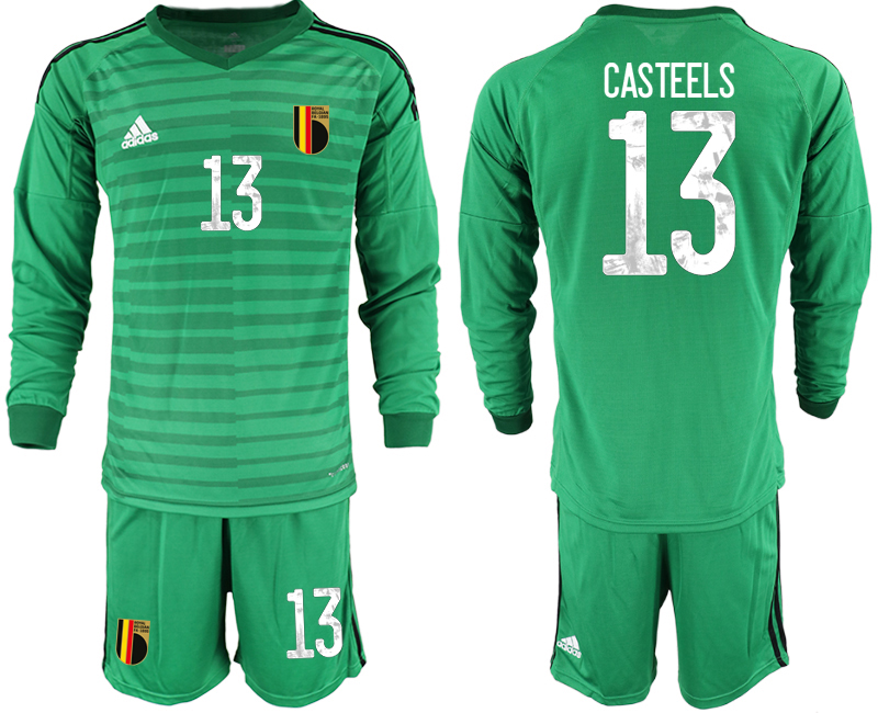 Wholesale Men 2021 European Cup Belgium green Long sleeve goalkeeper 13 Soccer Jersey1