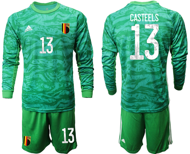 Wholesale Men 2021 European Cup Belgium green Long sleeve goalkeeper 13 Soccer Jersey2