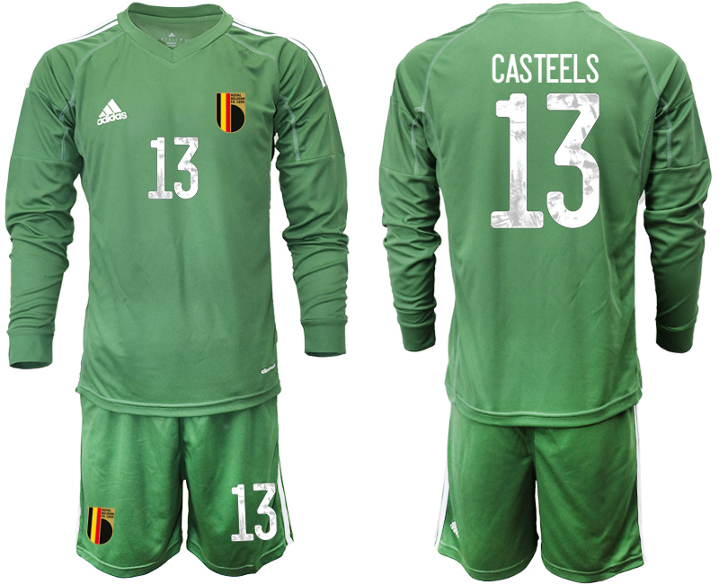 Wholesale Men 2021 European Cup Belgium green Long sleeve goalkeeper 13 Soccer Jersey3