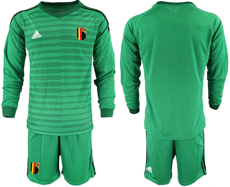 Cheap Men 2021 European Cup Belgium green Long sleeve goalkeeper Soccer Jersey1